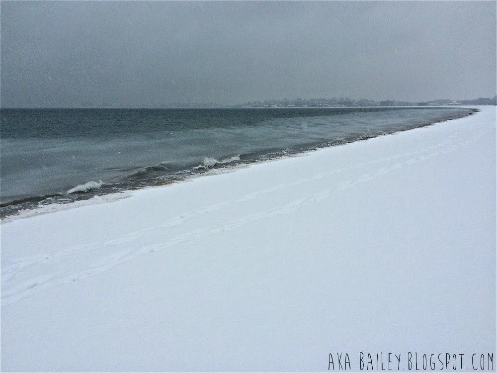 Revere Beach in a snowstorm