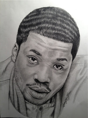 hip hop illustrations - rapper portraits - meek mill - رسم هيب هوب