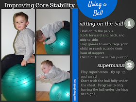 Using a stability ball to improve a child's core strength