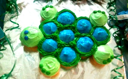 Spontaneous Creations Turtle Cupcake Cake