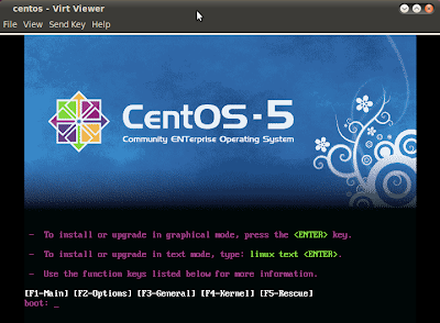 Imagen de instalación de CentOS 5.6 con KVM en Ubuntu 10.04