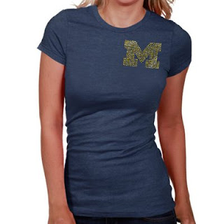 Michigan Wolverines NCAA Ladies Rhinestone T-Shirt
