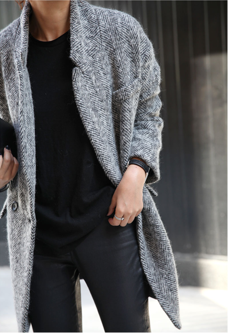 Chevron menswear oversized coat, tombowmonochromatic, effortless chic