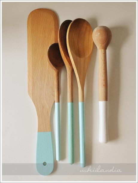 łyżki malowane / dip-dyed wooden spoons