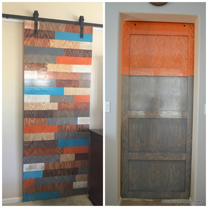 Color Block Door, Orange and Gray painted door