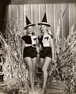 Twin Blondes Halloween Pinup