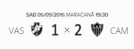 O placar de Vasco 1x2 Atlético-MG pela 23ª rodada do Brasileirão 2015