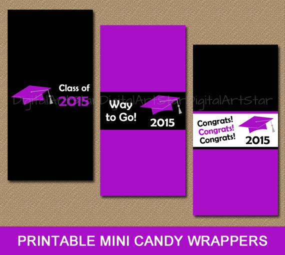 Instant purple and black graduation candy bar labels to use as party favors in purple and black