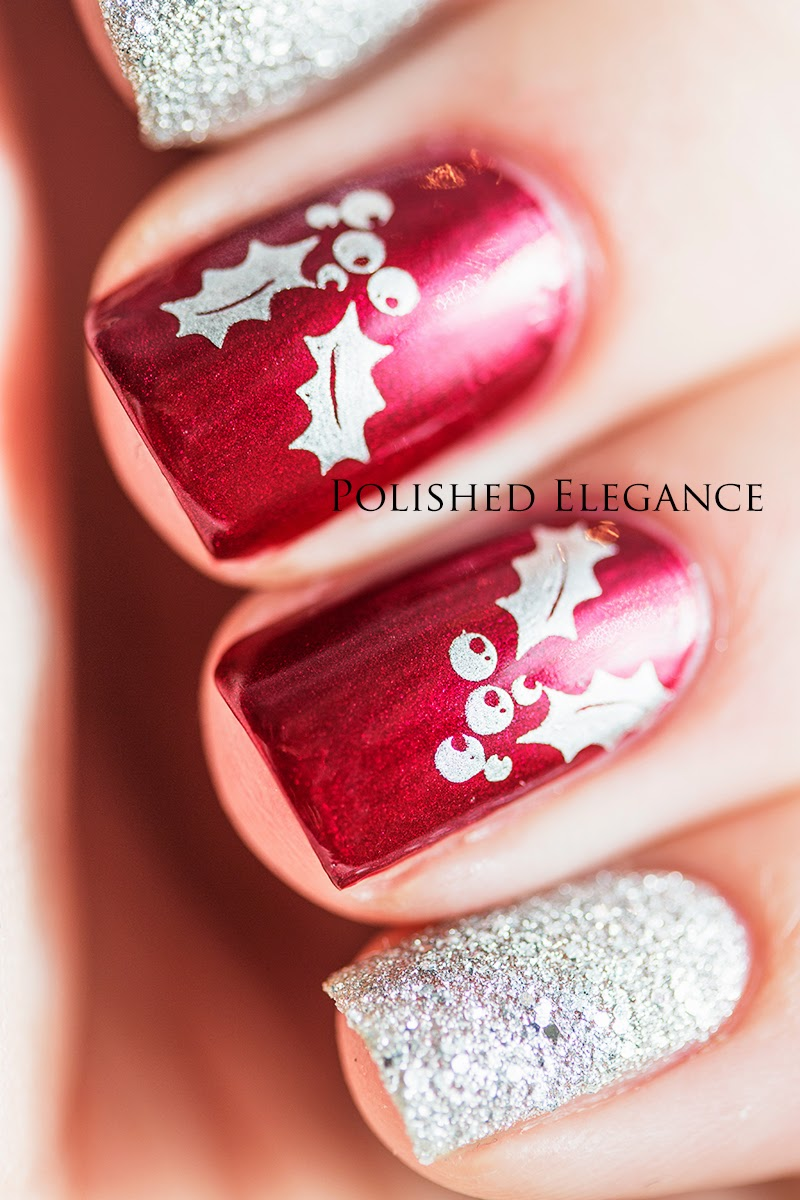 Christmas stamping nail art manicure, OPI - I'm Not Really A Waitress christmas manicure nail art