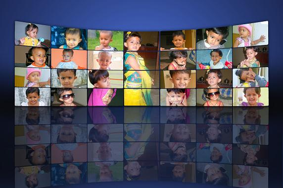 kids phtograph also with mirror image as facebook sytle