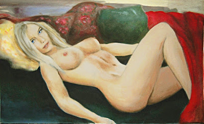 Female Nude, Reclining - Acrylic/Oil on Paper