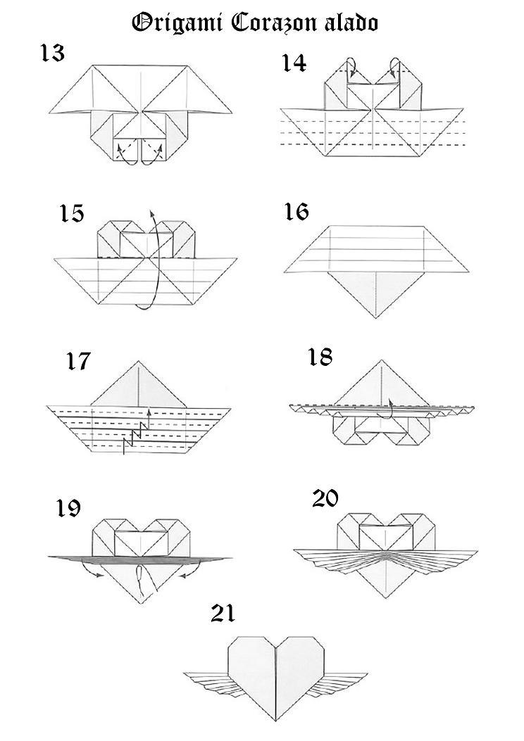 Creación Artesanal Origami Como hacer un Corazón Alado (corazón con ...