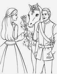 Gambar mewarnai barbie dan kuda dan pangeran