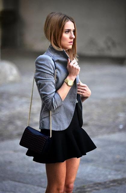Grey Color Coat And Mini Black Skirt