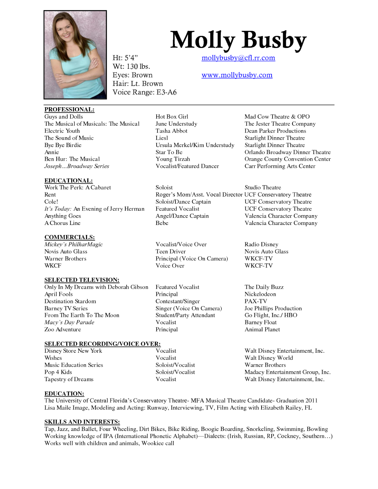 Exceptional Musical Resume Pertaining To Musical Theatre Resume Examples