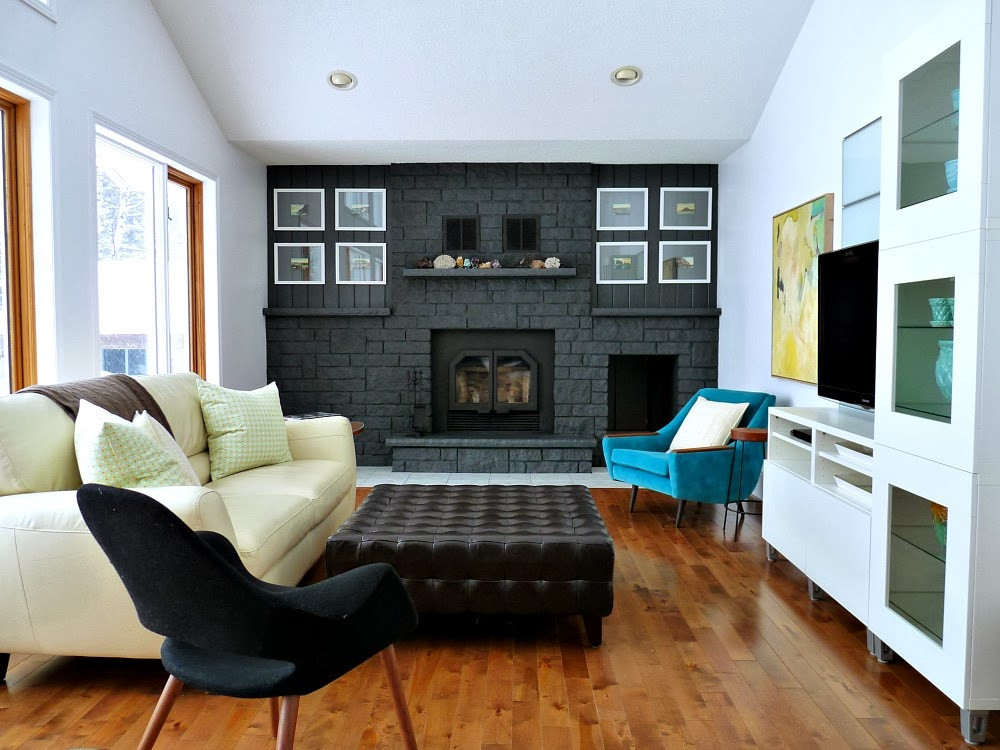 Charcoal Grey Fireplace DIY