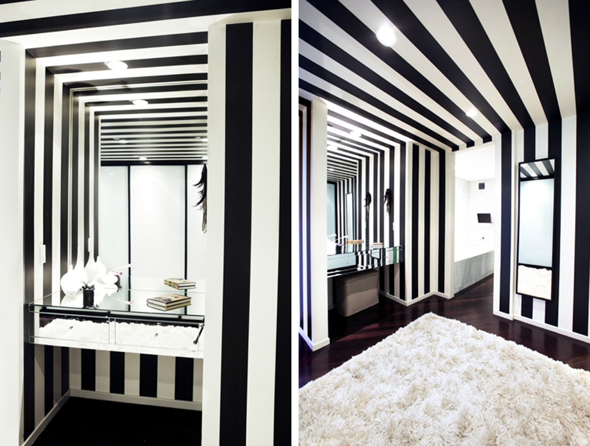 Black white yellow striped bathroom from form - Black and white striped wall ...