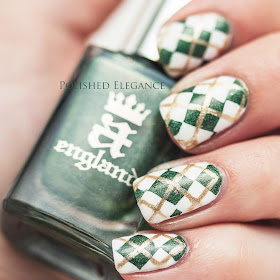 Argyle nails nail art nail polish a england dragon white green gold