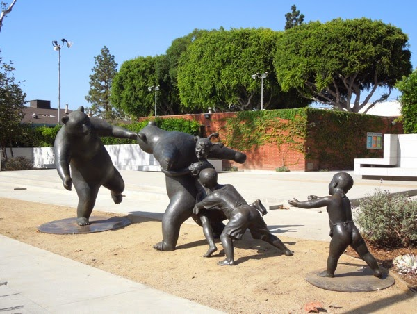 The Game bear children bronze sculpture WEHO Park