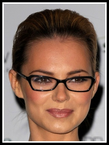 Best Glasses Frames For Narrow Faces : Kara Tointon in geometric butterfly frames