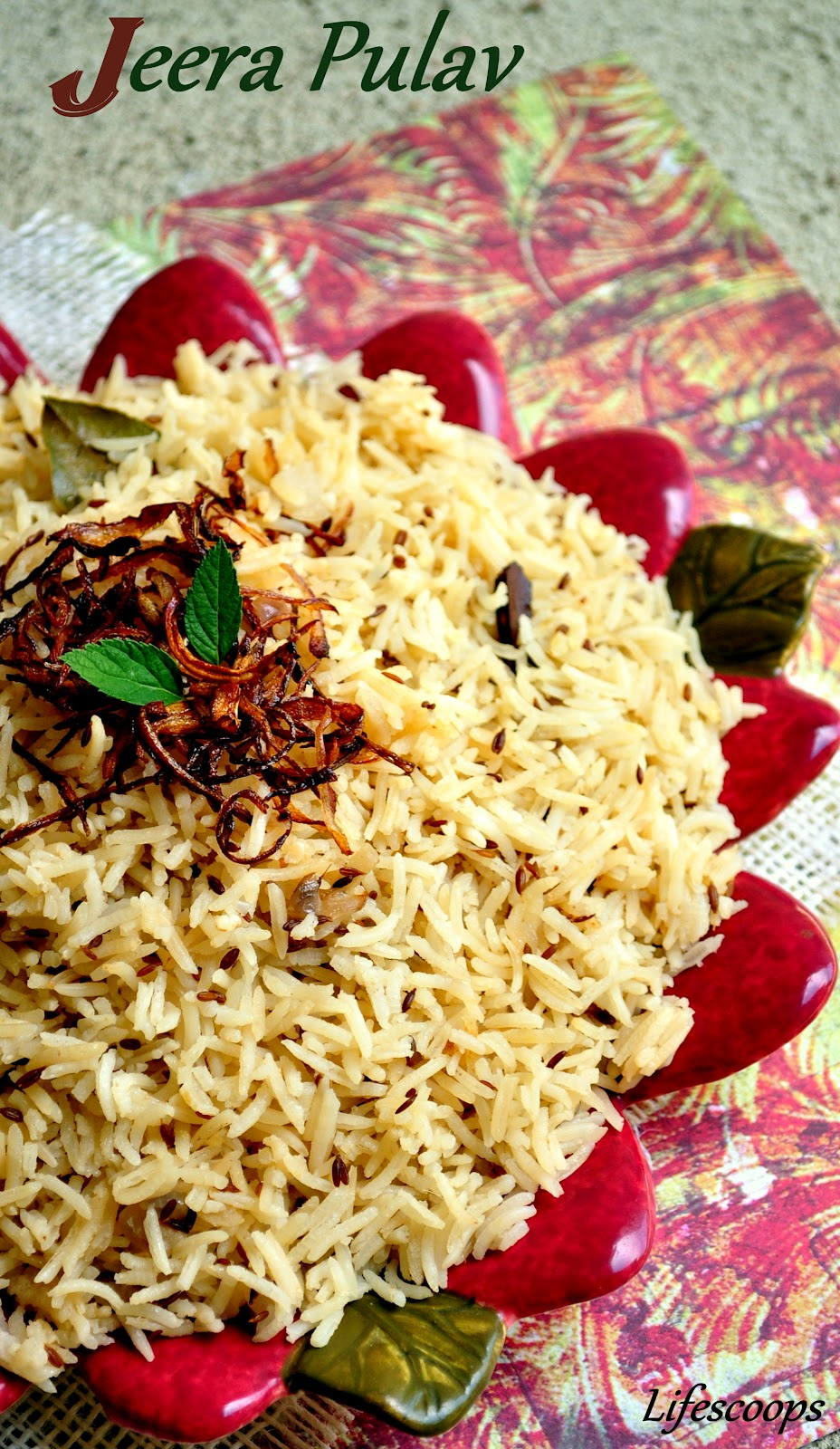 Life Scoops: Jeera Pulav (Rice) / Cumin flavored Basmati Rice