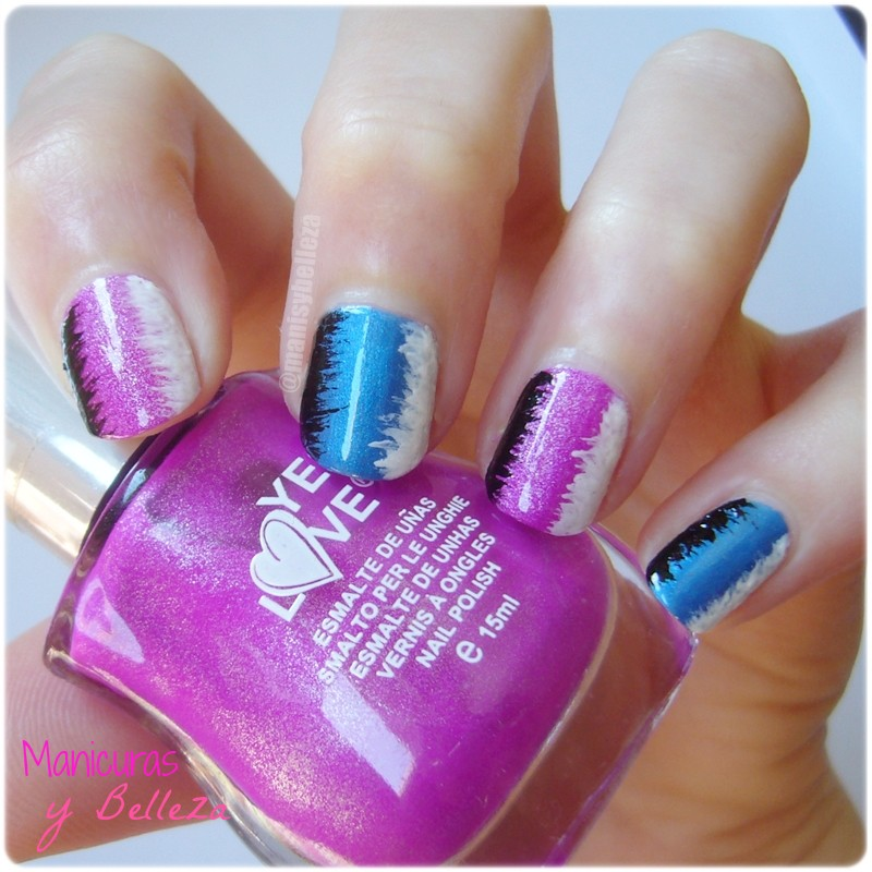 nail art pink and blue lines easy nails manicura fácil rosa y azul Kiko Yes Love