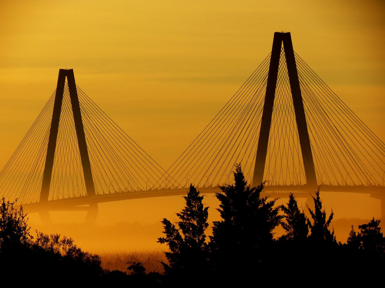 Sunrise Bathes the Ravenel Bridge