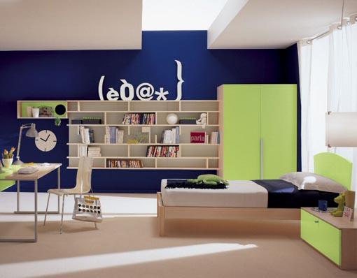 Blue Kids Room Green Walls 510 x 398