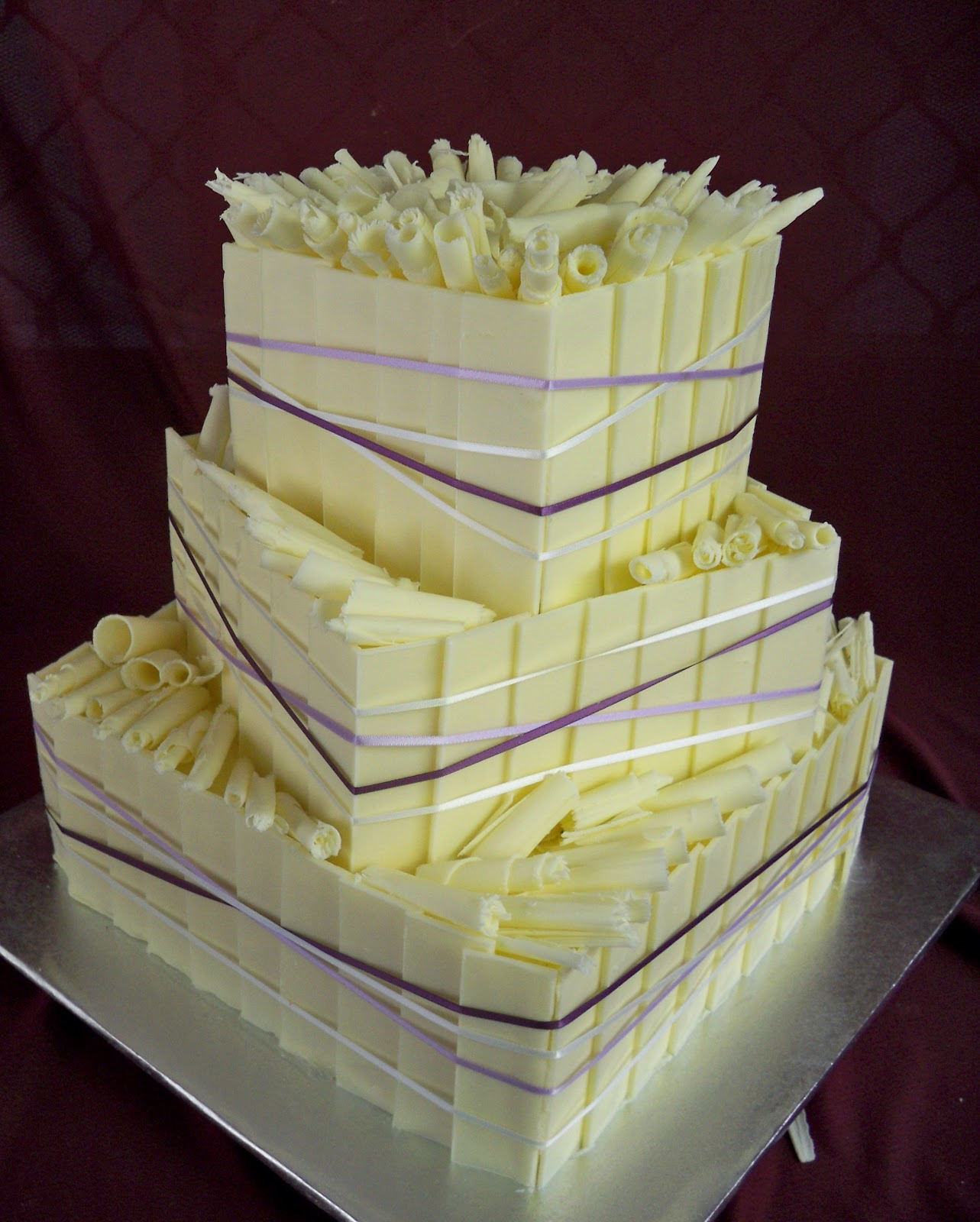 Pin Tier Square Damask Pattern Wedding Cake With Silver