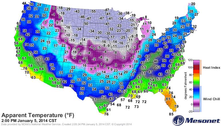 Weird Weather HotWhopper - Us current temps map