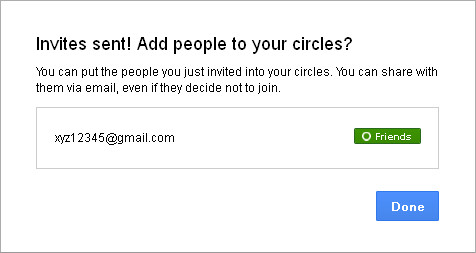 Google+ Circles: Invites Sent