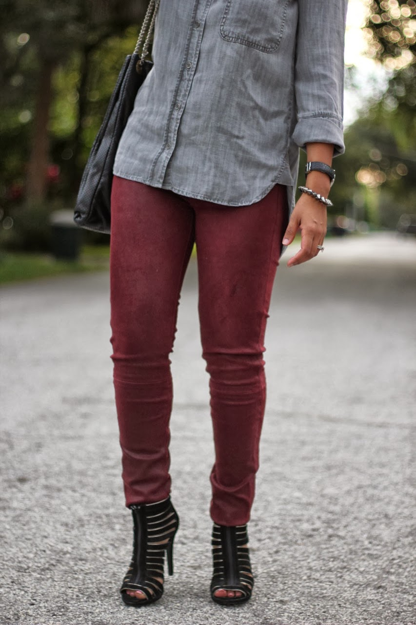 Rag & Bone Leather Pants in Burgundy with Bella Dahl top, Chanel Accessories and strappy ankle booties
