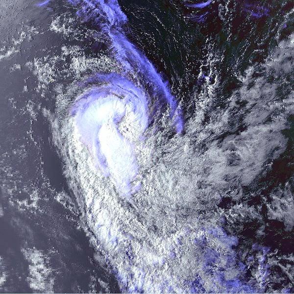 Image satellite de la forte tempête tropicale Gloria