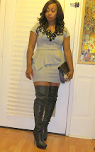 Outfit Gray Peplum Dress And Thigh High Boots