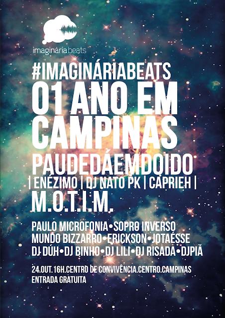 01 ano de IMAGINÁRIA BEATS em Campinas - shows PDD + M.O.T.I.M.