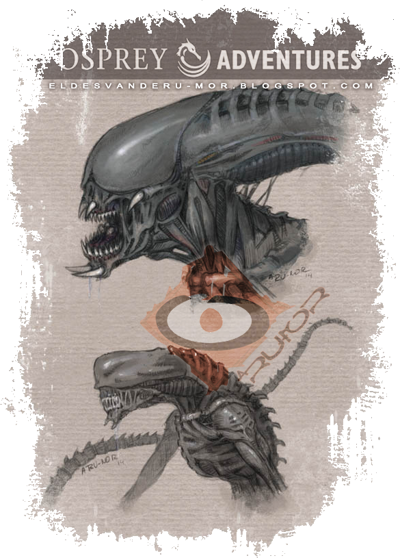 Design of alien beings of next book illustrated by RU-MOR for OSPREY Publishing, Osprey Adventures, aliens, bug, scifi