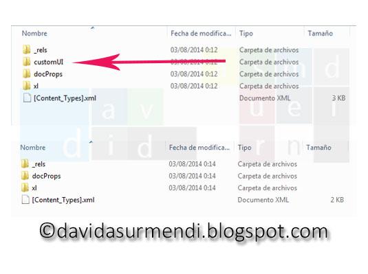 Estructura de los documentos de Excel una vez descomprimidos