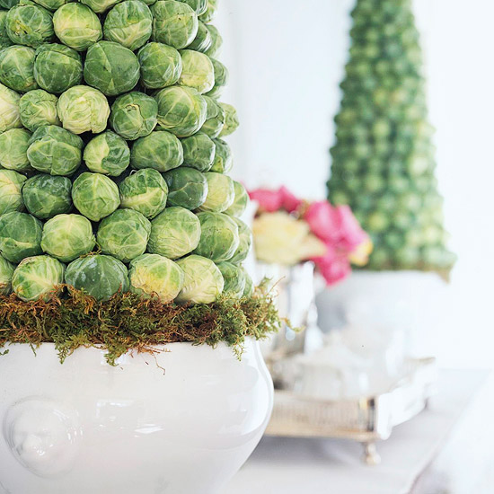 Brussels sprouts veggie centerpieces