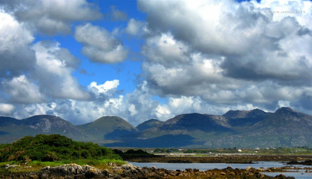 mountains, clouds, water, Roundstone © Annie Japaud Photography
