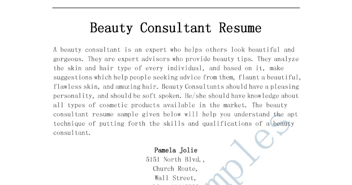 Resume Samples: Beauty Consultant Resume