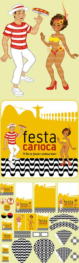 Ilustração, identidade visual do evento e kit digital para a FESTA CARIOCA