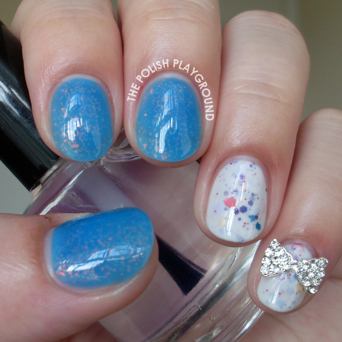 Blue Jelly Sandwich and White Crelly Combination with Bow Stud
