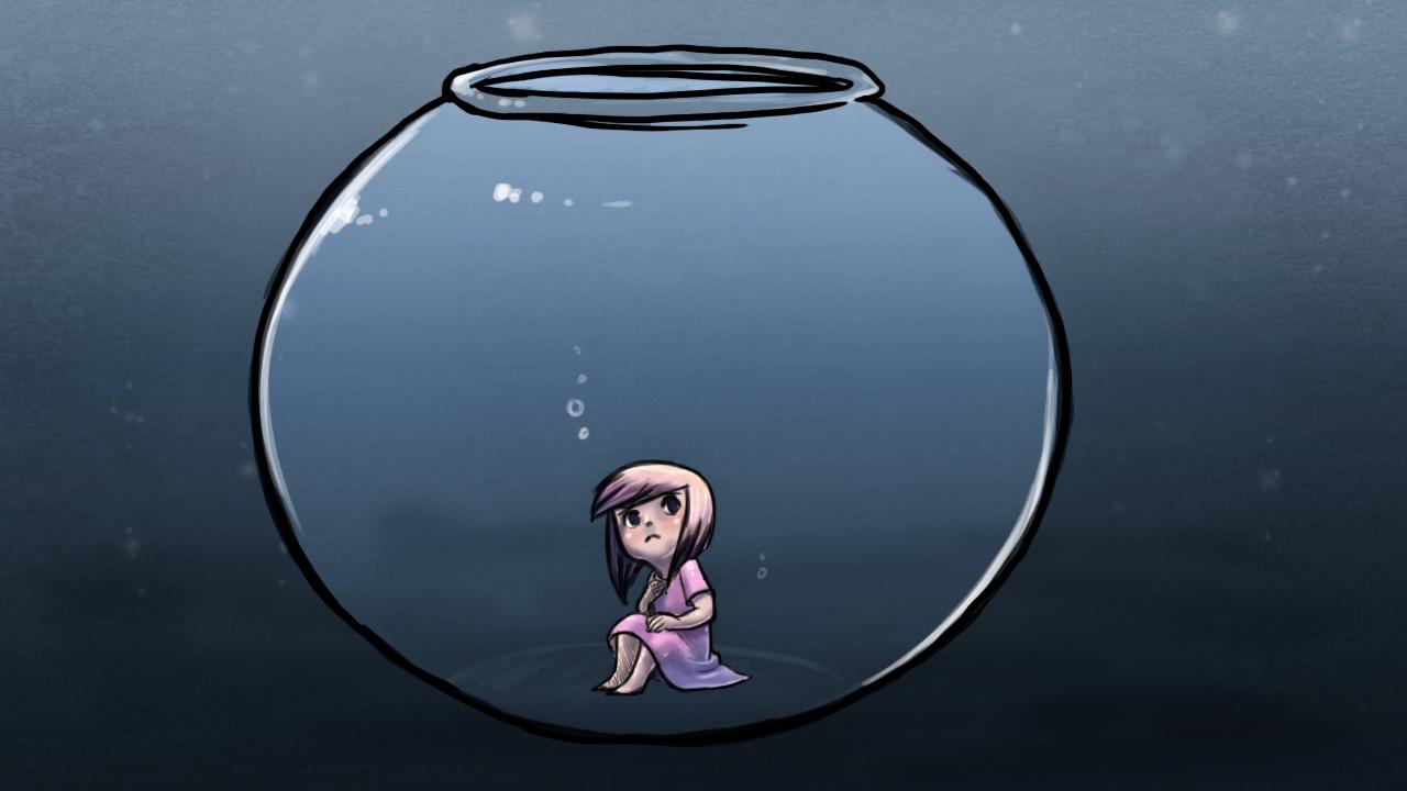 Menina presa num aquário