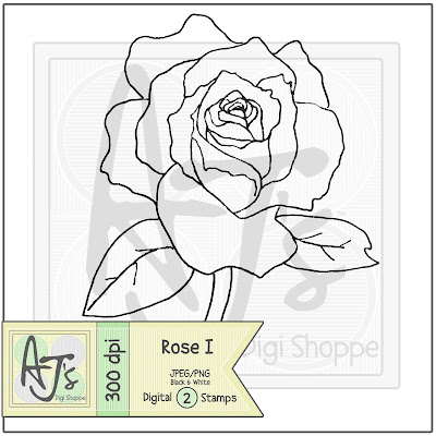 Rose, Flower, Digital Stamp