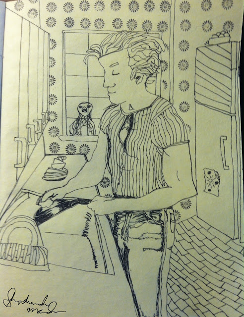 man cleaning washing dishes sketch