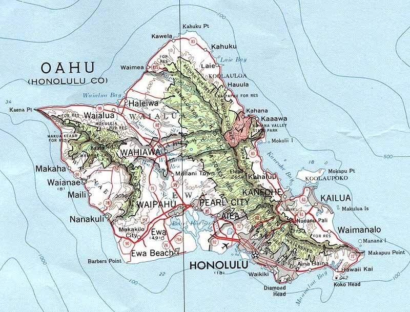 Map Of Oahu Hawaii  Free Printable Maps