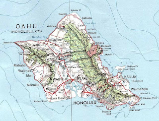 Map of Oahu Hawaii`s biggest island