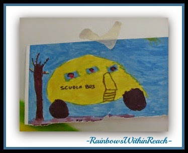 Child's School Bus Drawing Becomes the Basis for Professional Mural {Reggio Emilia, Italy} via RainbowsWithinReach