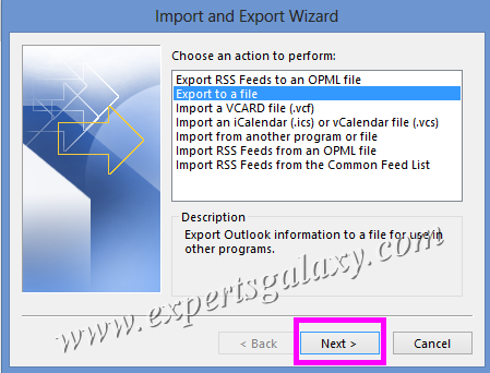 Outlook Import Export Wizard