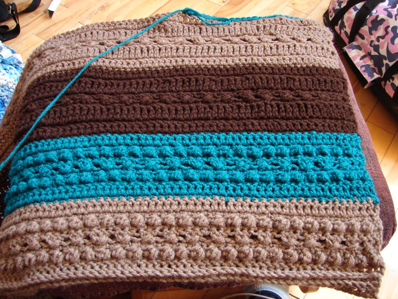 Amy\'s Passions: Aran throw progress and Cassie off to camp